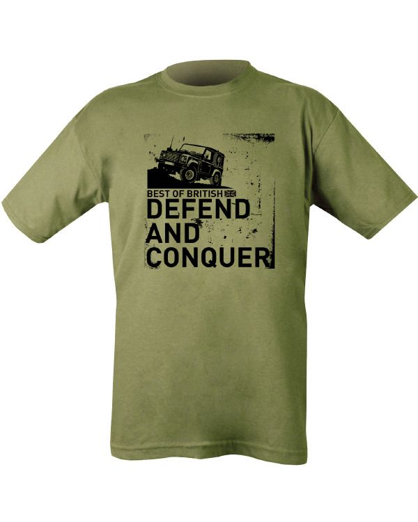 Defend and Conquer T-shirt - Olive Green